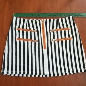 cbb892c304 Urban Outfitters Skirts | Bdg Striped Contrast Zipper Mini Skirt ...
